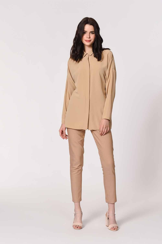 MIZALLE قميص كاجوال كلاسيك (بيج) (1)