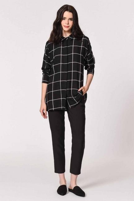 MIZALLE - قميص كاجوال كلاسيك (أسود) (1)