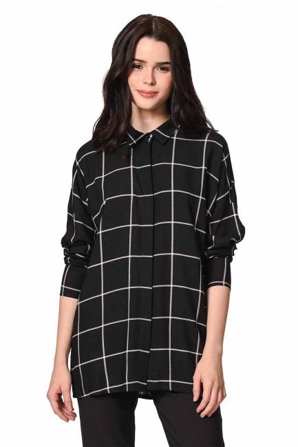 MIZALLE Klasik Rahat Kalıp Gömlek (Siyah)