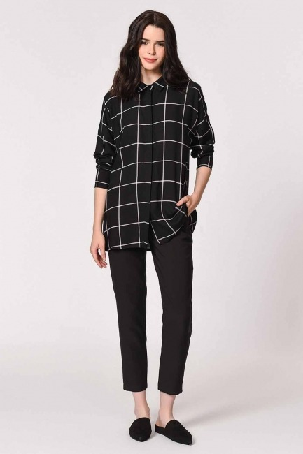 MIZALLE - Klasik Rahat Kalıp Gömlek (Siyah) (1)
