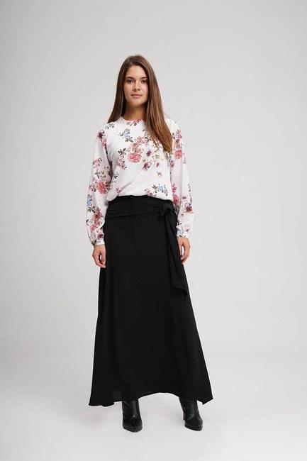 MIZALLE - تنورة طويلة الكلاسيكية (أسود) (1)