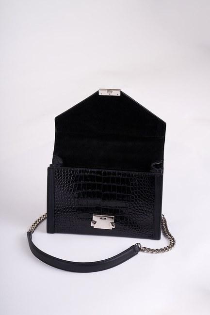 MIZALLE - حقيبة كتف جلدية (أسود تمساح) (1)