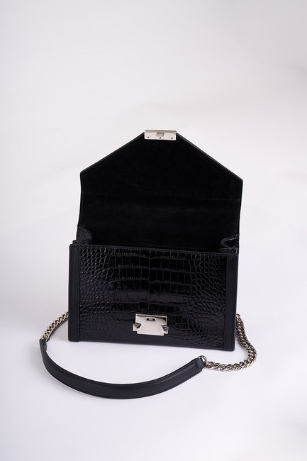 Mizalle - Leather Shoulder Bag (Crocodile Black) (1)