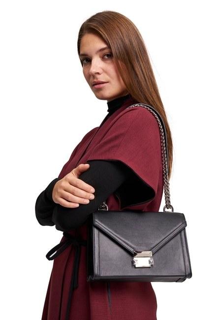 MIZALLE - حقيبة كتف جلدية (أسود) (1)