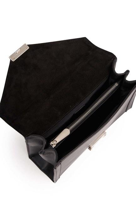 Klasik Zincirli Deri Omuz Çantası (Siyah) - Thumbnail