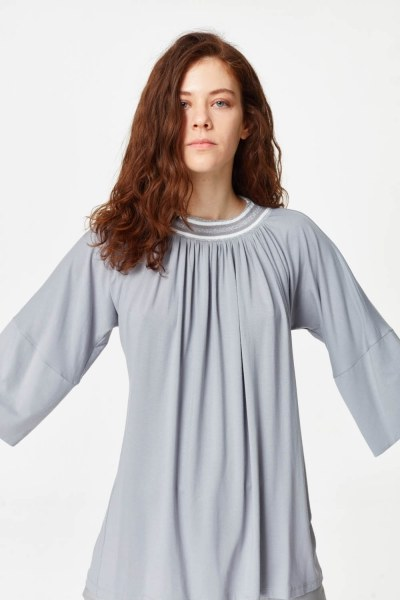 قميص مع ياقة من نسيج محبوك (رمادي) - Thumbnail