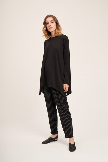 MIZALLE - Knitted Crepe Blouse (Black) (1)