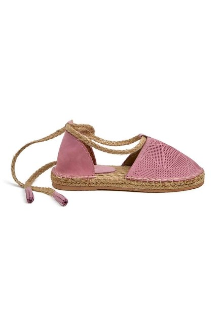 MIZALLE - Knitted Detail Nubuck Shoes (Pink) (1)