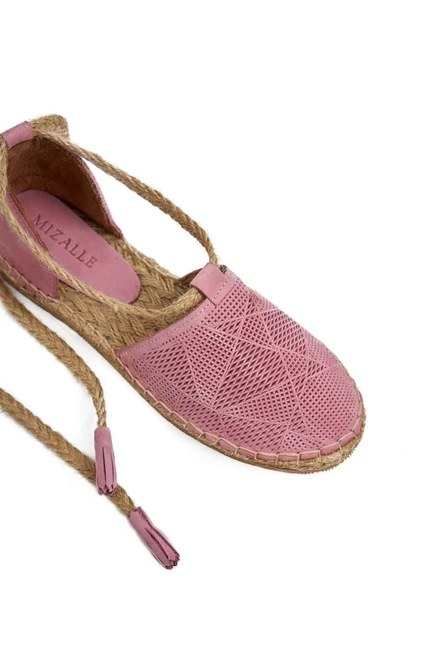 Knitted Detail Nubuck Shoes (Pink) - Thumbnail