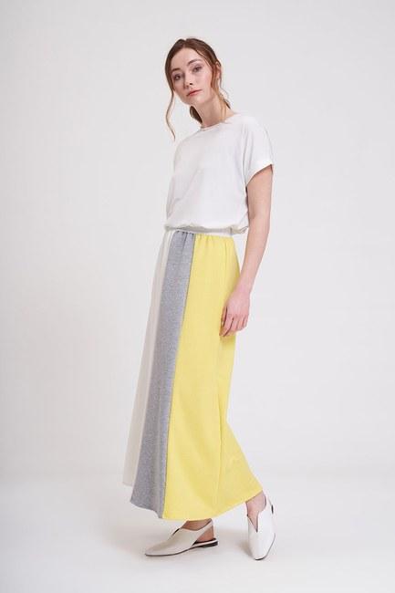 MIZALLE - تنورة قطعة محبوكة (أصفر) (1)