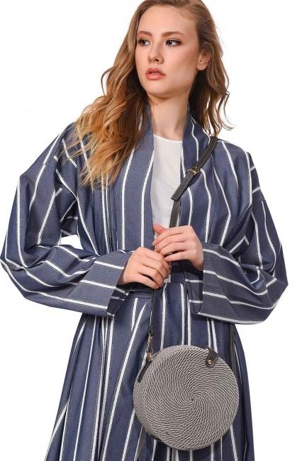 Knitting Drawstring Shoulder Bag (Grey) - Thumbnail