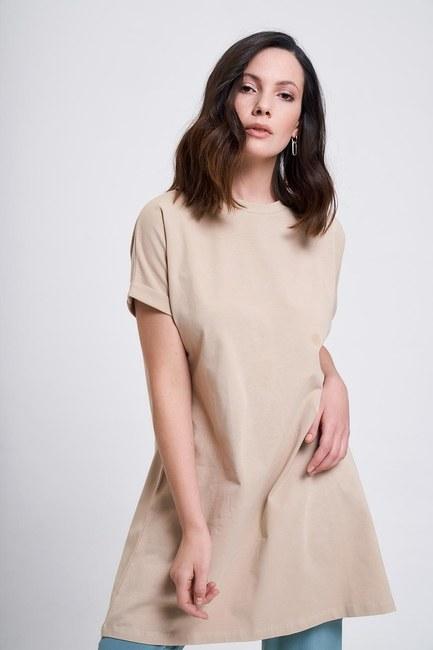 Mizalle Kol Katlamalı Tunik T-Shirt (Bej)