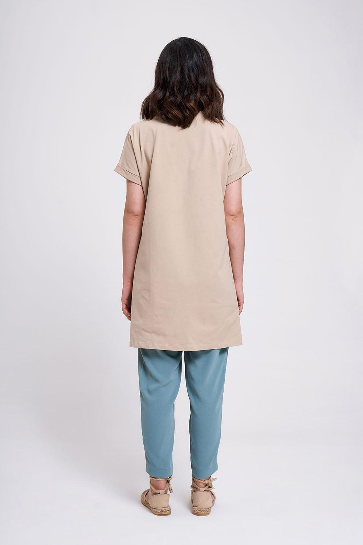 Kol Katlamalı Tunik T-Shirt (Bej)