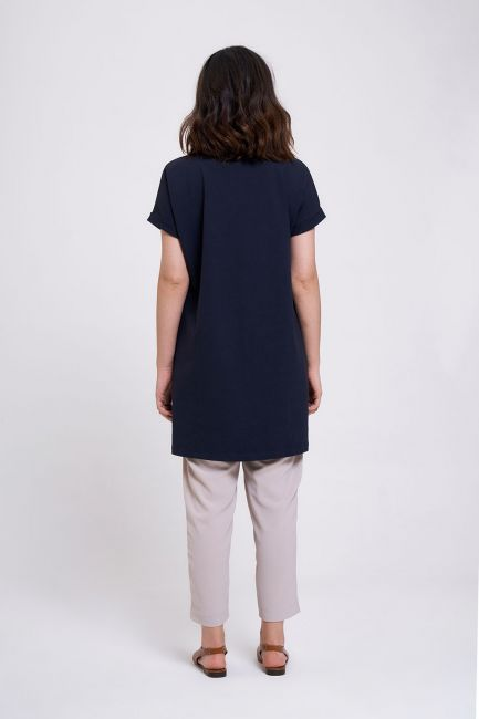 Kol Katlamalı Tunik T-Shirt (Lacivert) - Thumbnail