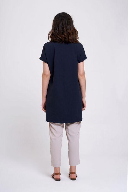 Kol Katlamalı Tunik T-Shirt (Lacivert)