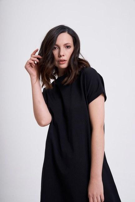 Kol Katlamalı Tunik T-Shirt (Siyah) - Thumbnail