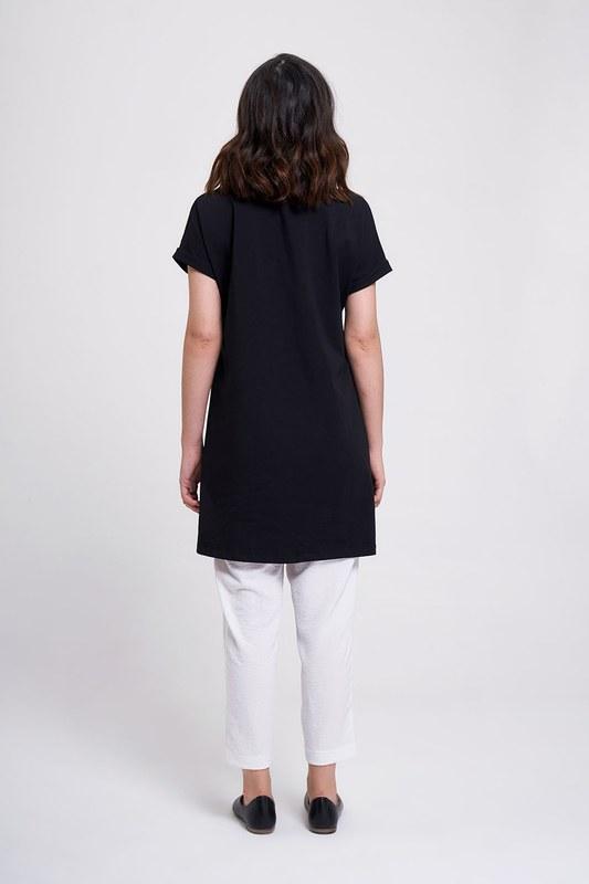 Kol Katlamalı Tunik T-Shirt (Siyah)