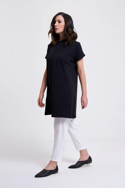 Mizalle Kol Katlamalı Tunik T-Shirt (Siyah)