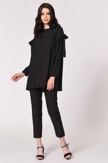 Mizalle - Kolları Bağlamalı Siyah Tunik