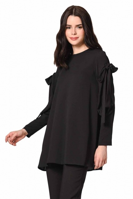 MIZALLE Sleeve Binding Detail Tunic (Black)