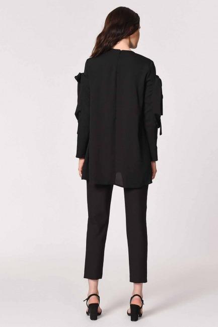 Sleeve Binding Detail Tunic (Black) - Thumbnail