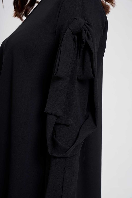 Kolları Bağlamalı Tunik (Siyah)
