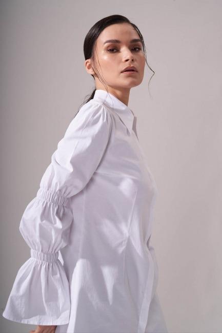 Kolları Büzgülü Beyaz Gömlek - Thumbnail