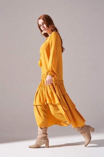 Kolları Büzgülü Kat Detaylı Elbise (Hardal) - Thumbnail