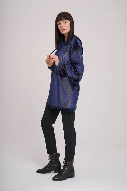 MIZALLE - Double Layer Sleeves Sweatshirt (Navy Blue) (1)