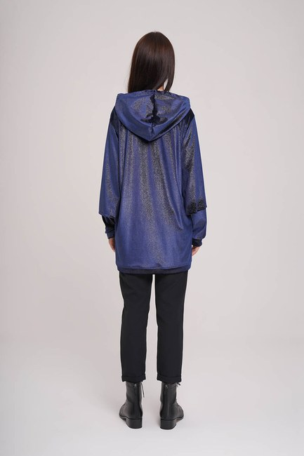 Kolları Çift Katlı Sweatshirt (Lacivert) - Thumbnail