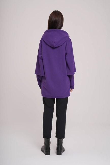MIZALLE - Kolları Çift Katlı Sweatshirt (Mor) (1)