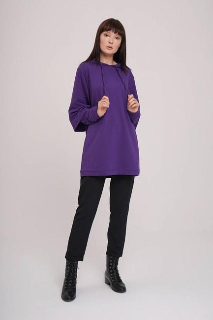 Kolları Çift Katlı Sweatshirt (Mor) - Thumbnail