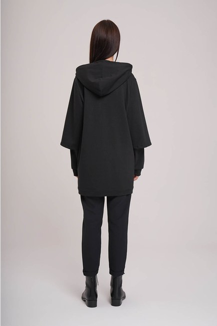 MIZALLE - Double Layer Sleeves Sweatshirt (Black) (1)