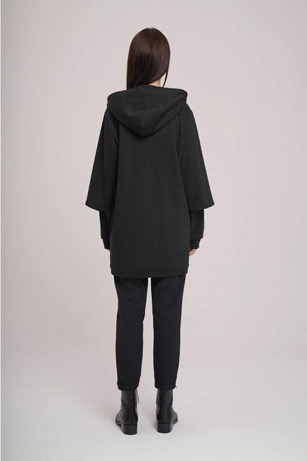 MIZALLE - Kolları Çift Katlı Sweatshirt (Siyah) (1)