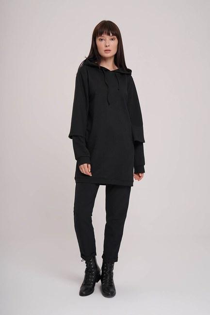 Kolları Çift Katlı Sweatshirt (Siyah) - Thumbnail