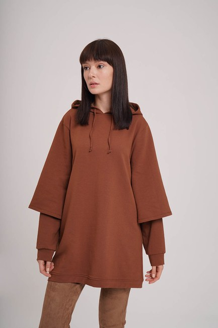 MIZALLE - Double Layer Sleeves Sweatshirt (Tan) (1)