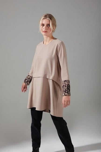 Mizalle - Kolları Desenli Bluz (Bej)
