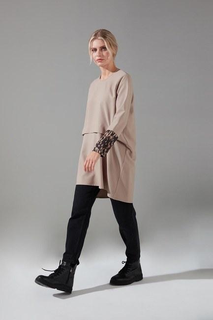 Mizalle - Kolları Desenli Bluz (Bej) (1)