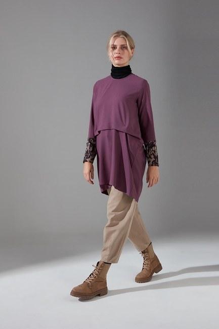 Mizalle - Kolları Desenli Bluz (Mor)