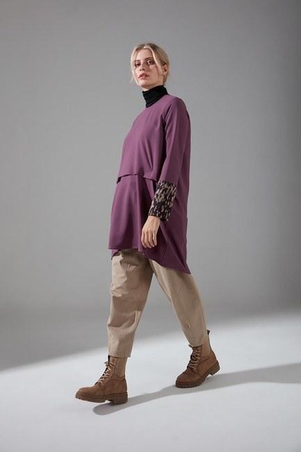 Mizalle - Kolları Desenli Bluz (Mor) (1)