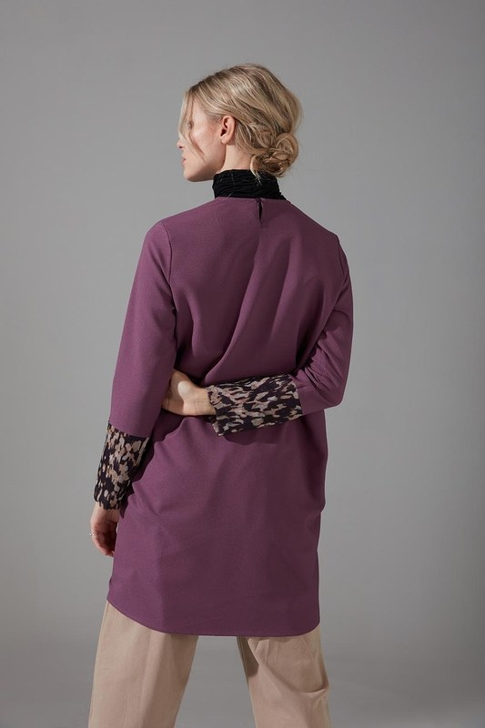 Kolları Desenli Bluz (Mor)