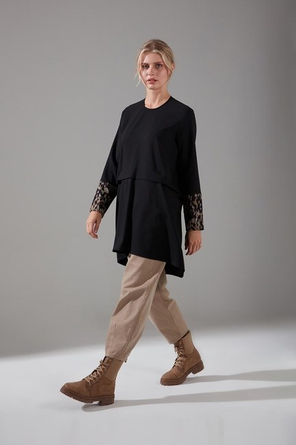 Mizalle - Kolları Desenli Bluz (Siyah)