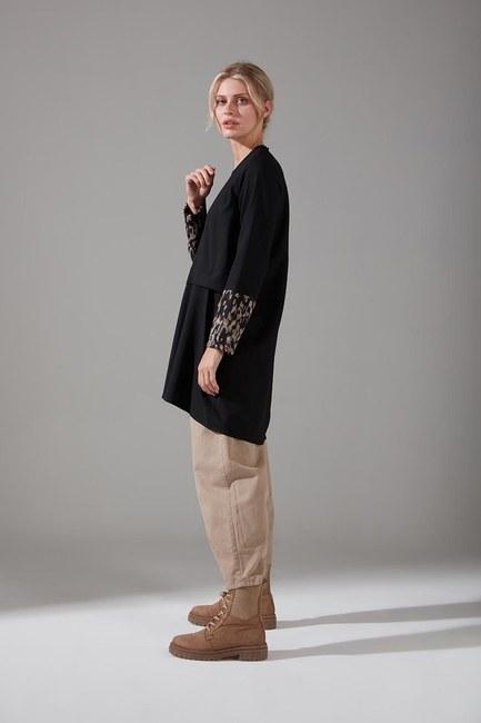 Kolları Desenli Bluz (Siyah) - Thumbnail