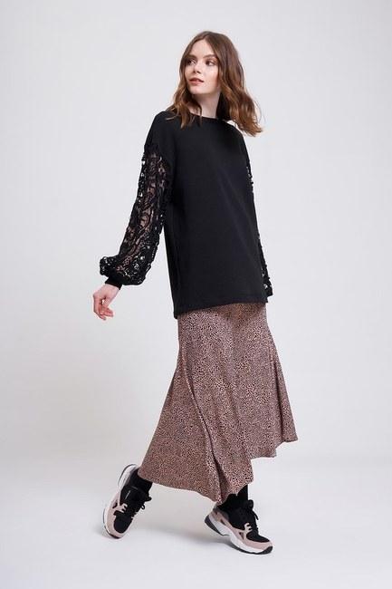 MIZALLE YOUTH - Kolları Güpür Sweatshirt (Siyah) (1)