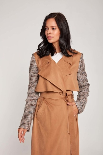 MIZALLE - Fabric Sleeve TrenchCoat (Beige) (1)