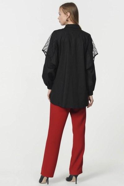 قميص بوبلين مع الأورجانزا الأكمام مفصلة (أسود) - Thumbnail