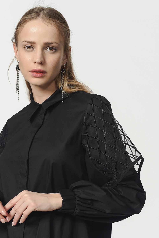 MIZALLE قميص بوبلين مع الأورجانزا الأكمام مفصلة (أسود) (1)