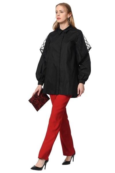 Poplin Shirt With Organza Detailed Sleeves (Black) - Thumbnail