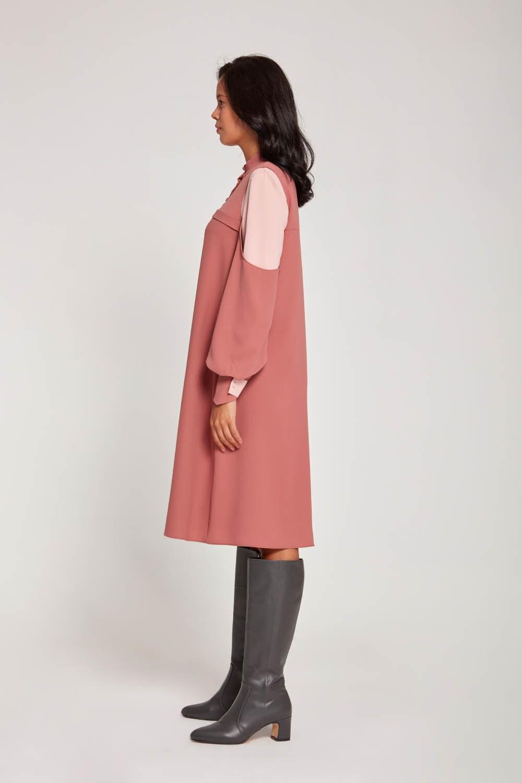 Kolları Parçalı Gül Kurusu Tunik Elbise