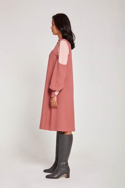 Kolları Parçalı Tunik Elbise (Gül Kurusu) - Thumbnail